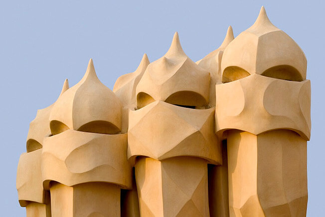 visit pedrera by day roof-terrace fireplaces