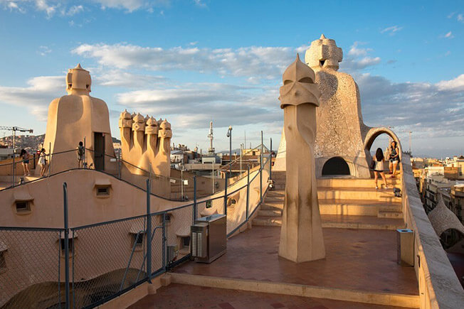 visit pedrera by day roof terrace
