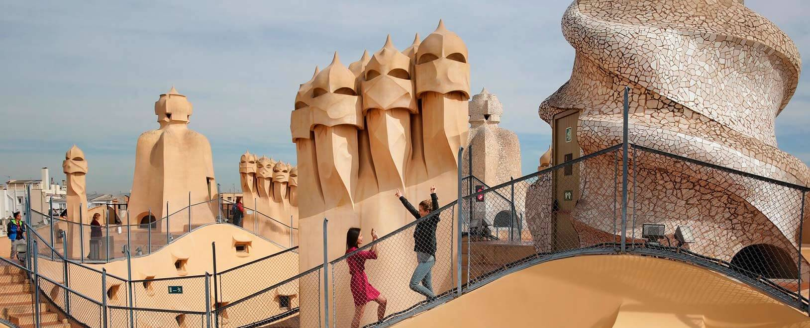 View of the roof and the courtyards of Casa Mila (La ... |Casa Mila Roof